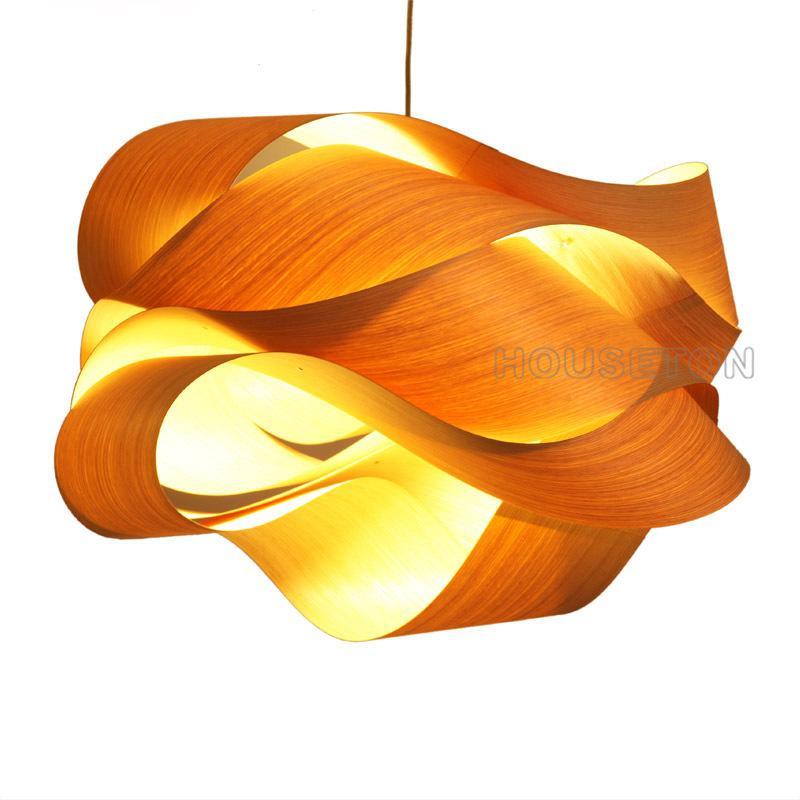 Hot design home decoration large luxury handmade wood pendant light 1
