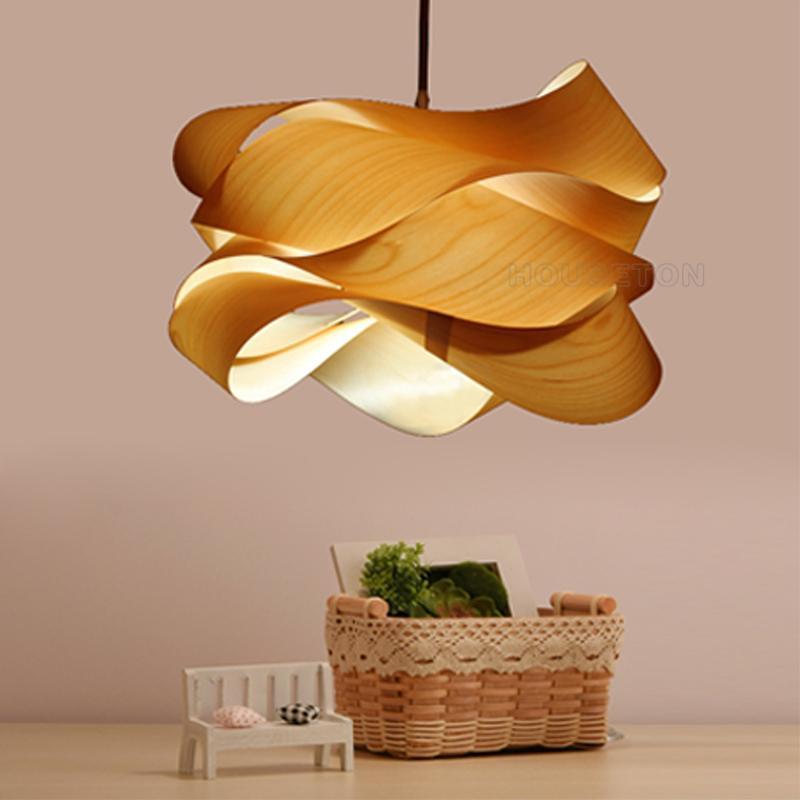 Hot design home decoration large luxury handmade wood pendant light 3