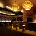 Hot selling decorative linear contemporary wood chandelier for hotel 3