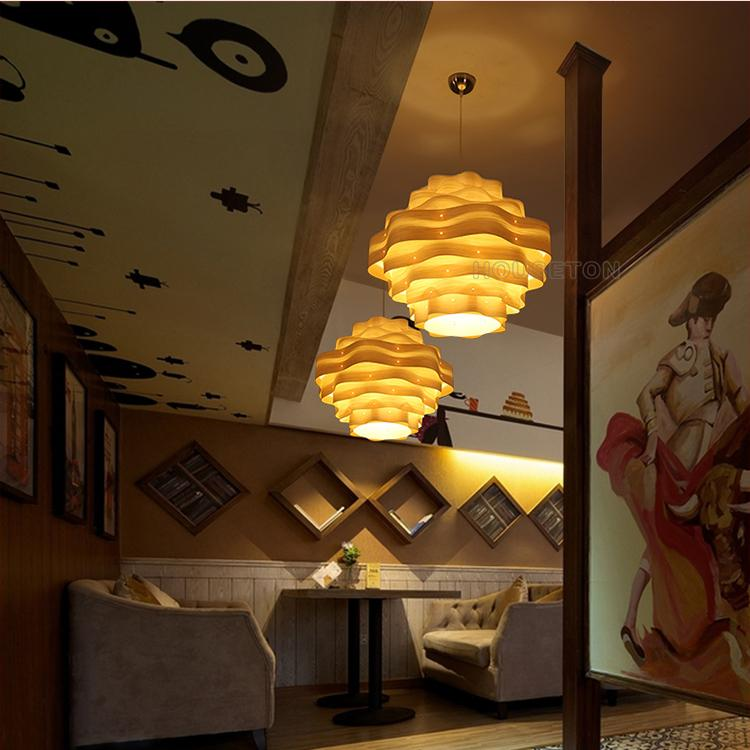 Hot selling decorative linear contemporary wood chandelier for hotel 4