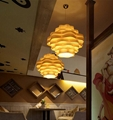 Hot selling decorative linear contemporary wood chandelier for hotel 5