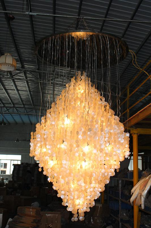 High quality large contemporary shell hotel lobby chandelier fixtures 3