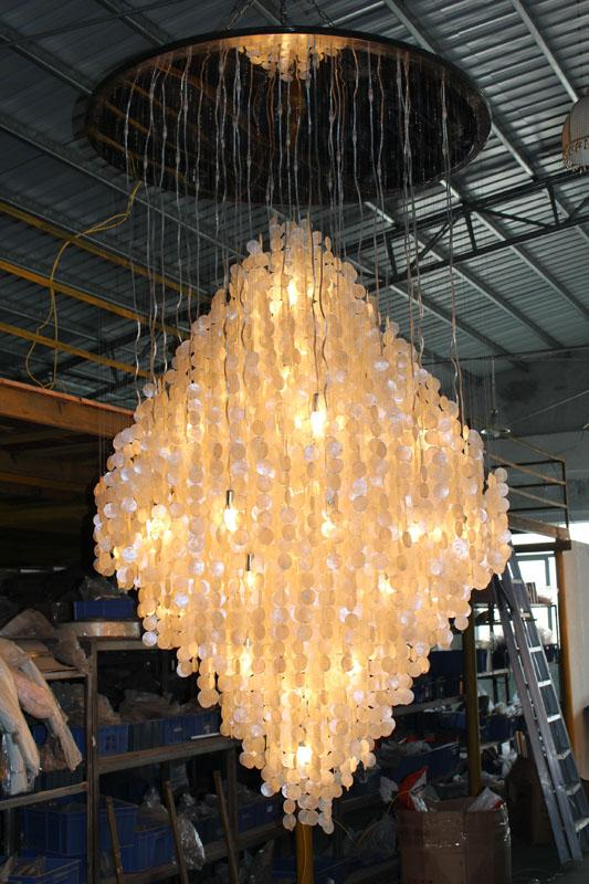 High quality large contemporary shell hotel lobby chandelier fixtures 5