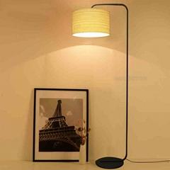 Hot sale black hotel bedroom iron wooden standing floor lamp covers