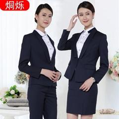 2017冬职业女裤套装藏青条纹套装批量定制