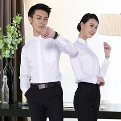 湖南工作服定做男女同款白衬衫春季新款加工定制