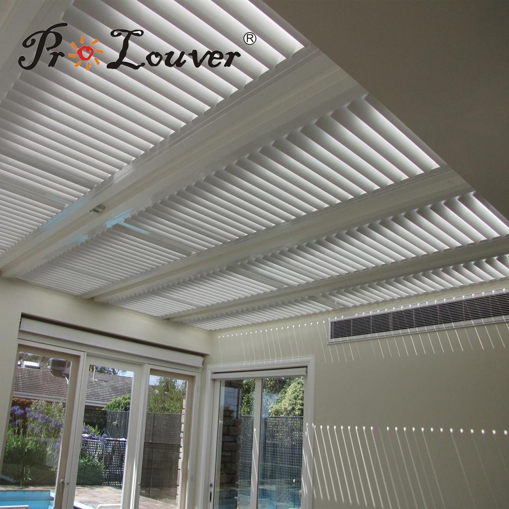 Pergola aluminum roof motorized operable louvers 1