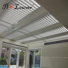 Pergola aluminum roof motorized operable louvers