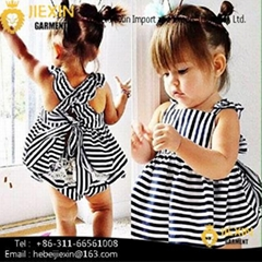 white and Black Strip Children Clothing Sets Hot Sale Baby 2 Pieces Clothes Outf