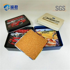 wholesale square tinplate cork beer coaster set with tin box