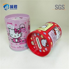 cute round coin bank tin box
