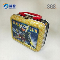 lovely metal tin lunch box with handle