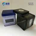 high quality square biscuit packaging tin box with clear PET window 3