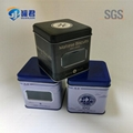 high quality square biscuit packaging tin box with clear PET window 1