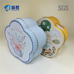 plum blossom shaped cookie packing tin can