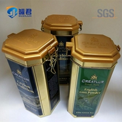 unique 8 sides tea packaging tin box with hinge lid and lock