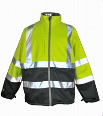 high visibility men softshell jacket