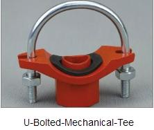 pipe fitting and grooved coupling, U-Bolted mechnical tee