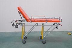 Patient ambulance using folding stretchers