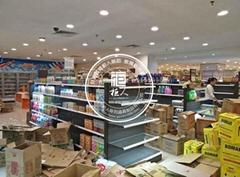 柜人铁木结合超市货架定制