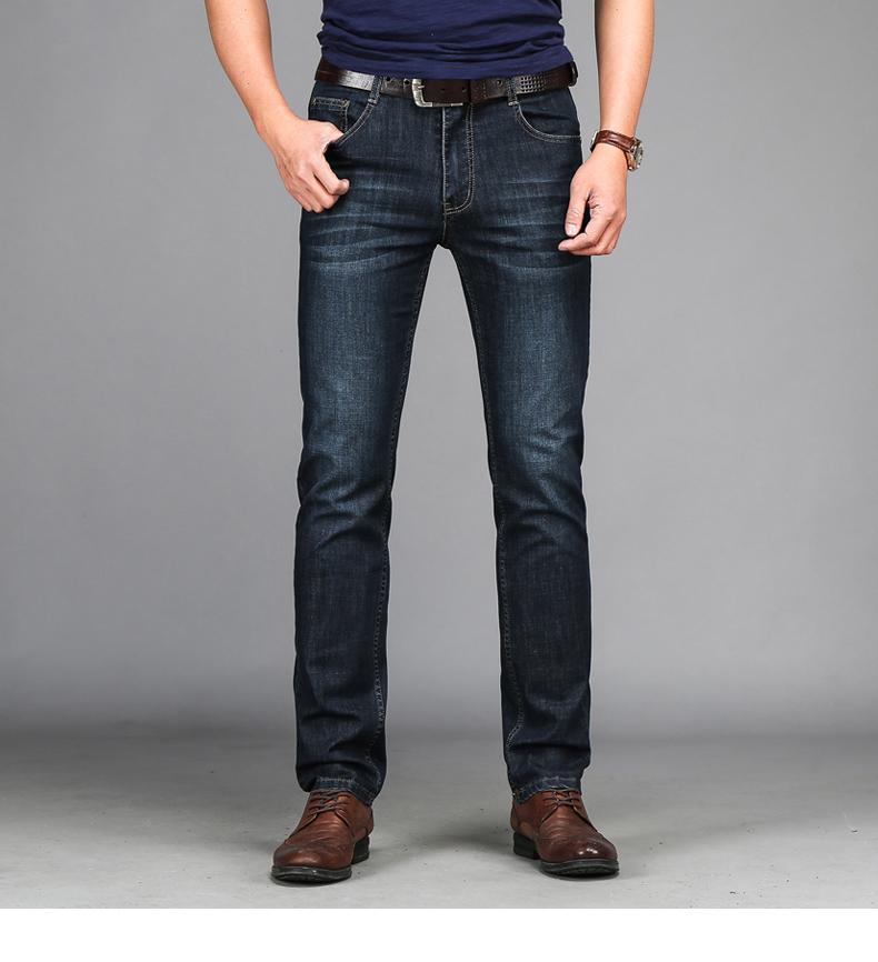 春夏男裝商務寬鬆直筒棉彈休閑黑藍兩色牛仔褲長褲 1