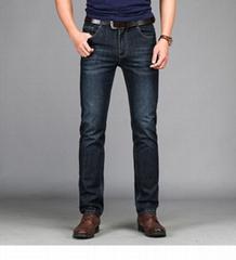 春夏男装商务宽松直筒棉弹休闲黑蓝两色牛仔裤长裤