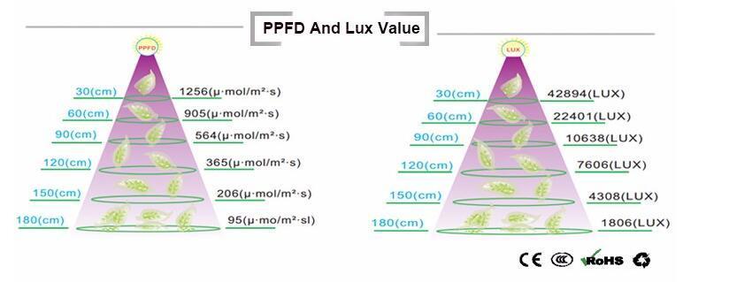 UL Approved 900W COB 5W Chip Led Grow Light 8