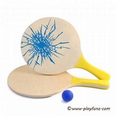 Classic Beach Tennis Wooden Rackets Smashball Set