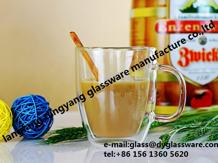 High-Borosilicate Double walled glass coffee mug cup 1