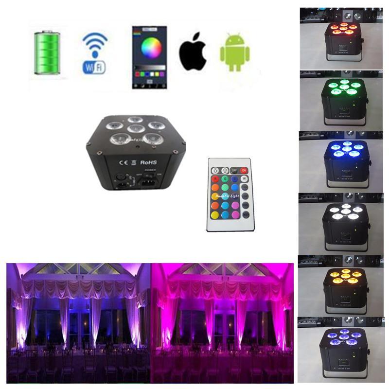 led flat par dmx phone app mini par led 6x18w rgbwauv battery wifi led uplight