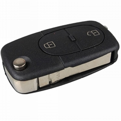 3 Button Panic Folding Remote Key Fob Case For Audi A3 A4 S4 Uncut Key Shell