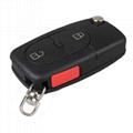 3 ButtonPanic Folding Remote Key Fob Case For Audi A3 A4 S4 Uncut Key Shell 2