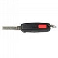 3 ButtonPanic Folding Remote Key Fob Case For Audi A3 A4 S4 Uncut Key Shell 3