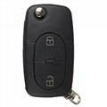 3 ButtonPanic Folding Remote Key Fob Case For Audi A3 A4 S4 Uncut Key Shell 4