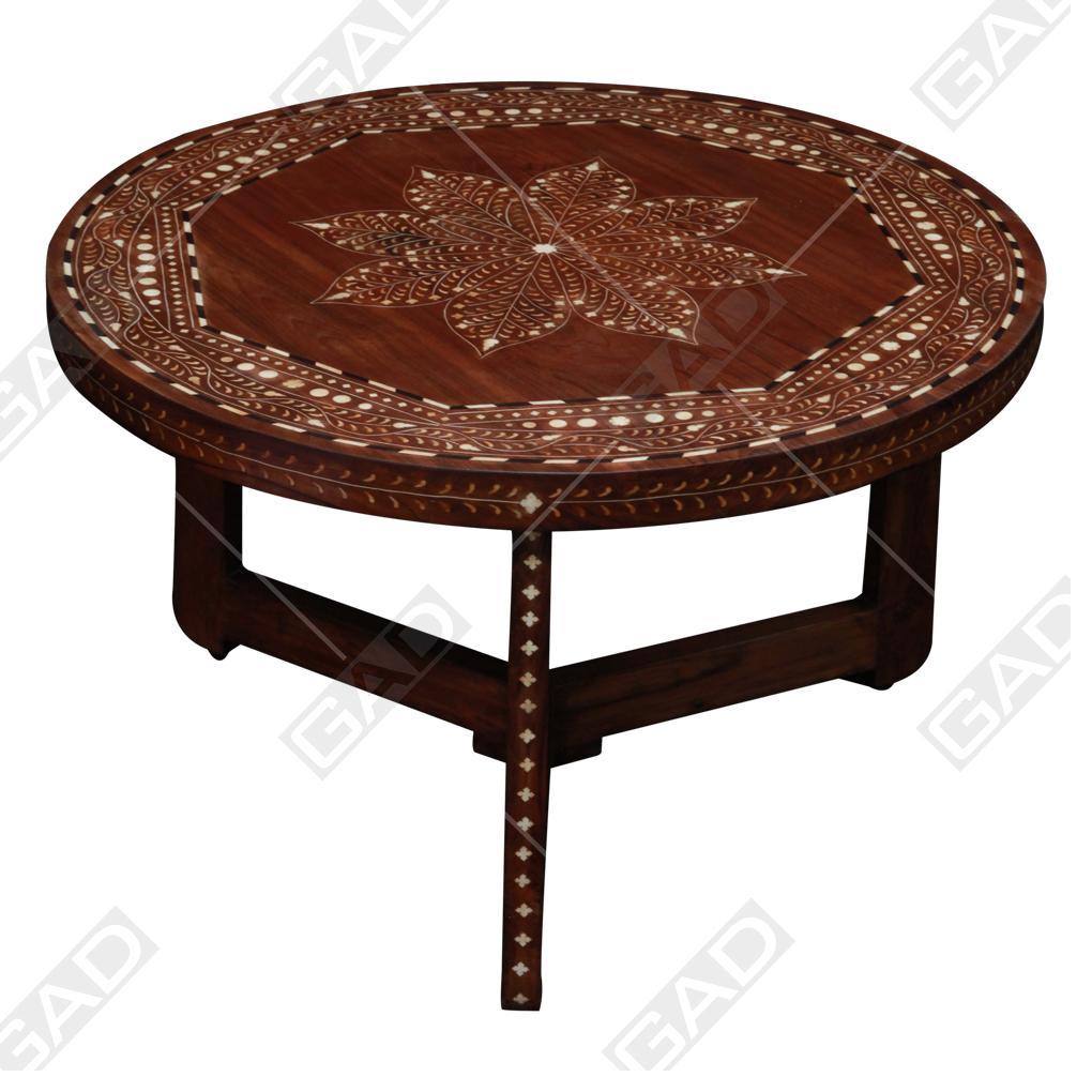 WOOD EN BONE ROUND COFFEE TABLE 1