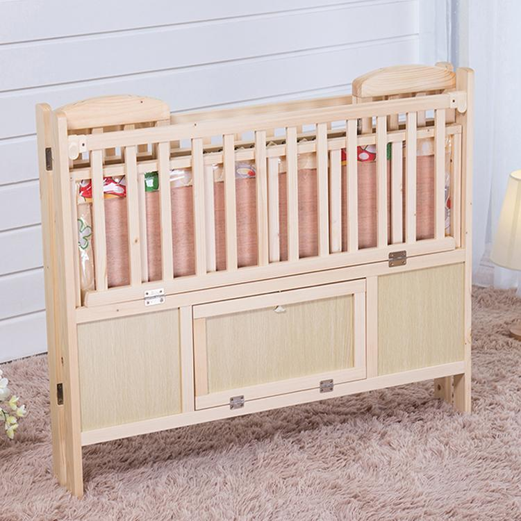 Hot Sale Baby Cot Solid Pine Wood Foldable Baby Bed Yb3830