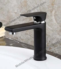 Factory Deck Mounted Single Lever Black Brass Basin Faucet