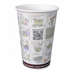 16 oz Compostable Paper PLA Corn Plastic Lined Coffee Hot Cups