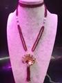 高品質天然莫桑比克石榴石長款毛衣鏈批發時尚手工項鏈飾品 1
