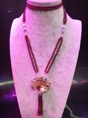 高品質天然莫桑比克石榴石長款毛衣鏈批發時尚手工項鏈飾品
