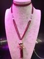高品质天然莫桑比克石榴石长款毛衣链批发时尚手工项链饰品 2