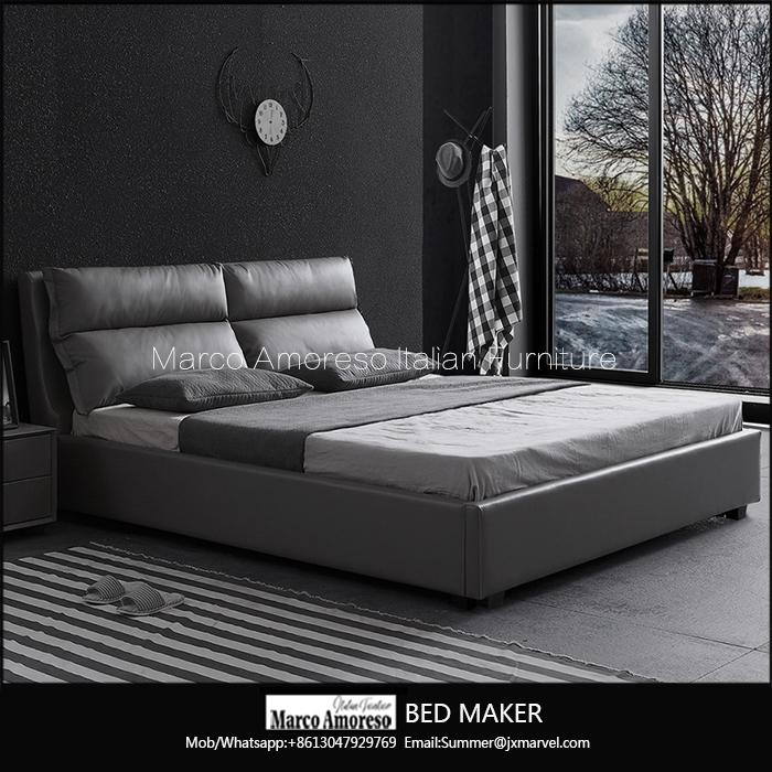 made in china wood frame structure italian leather bed frame modern beds 2