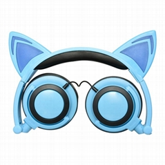 cat ear cartoon children light earphone headphone for mobile