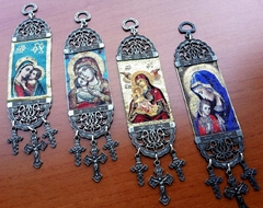 Holy Mother Mary and Jesus Woven Christian Wall Hanging Tapestry Crucifixes