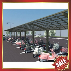 美观耐用公共大型PC耐力板铝合金摩托车棚自行车棚单车棚车篷
