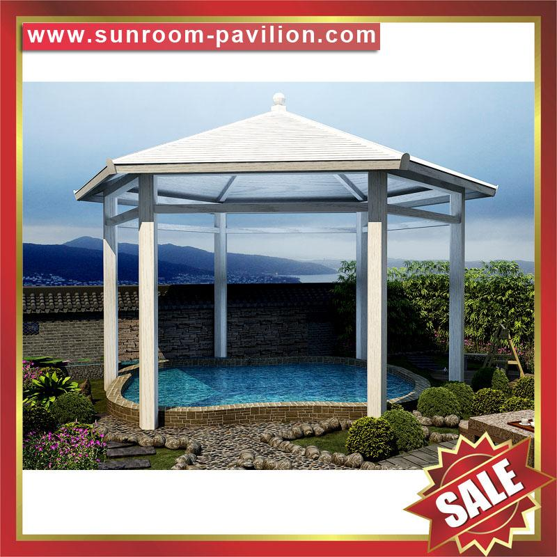 garden outdoor wood look alu aluminum metal gazebo pavilion shelter canopy cover