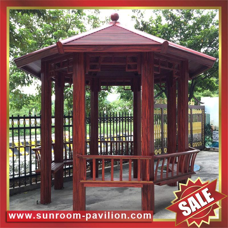 chinese style garden outdoor wood look alu aluminum metal gazebo pavilion for sale