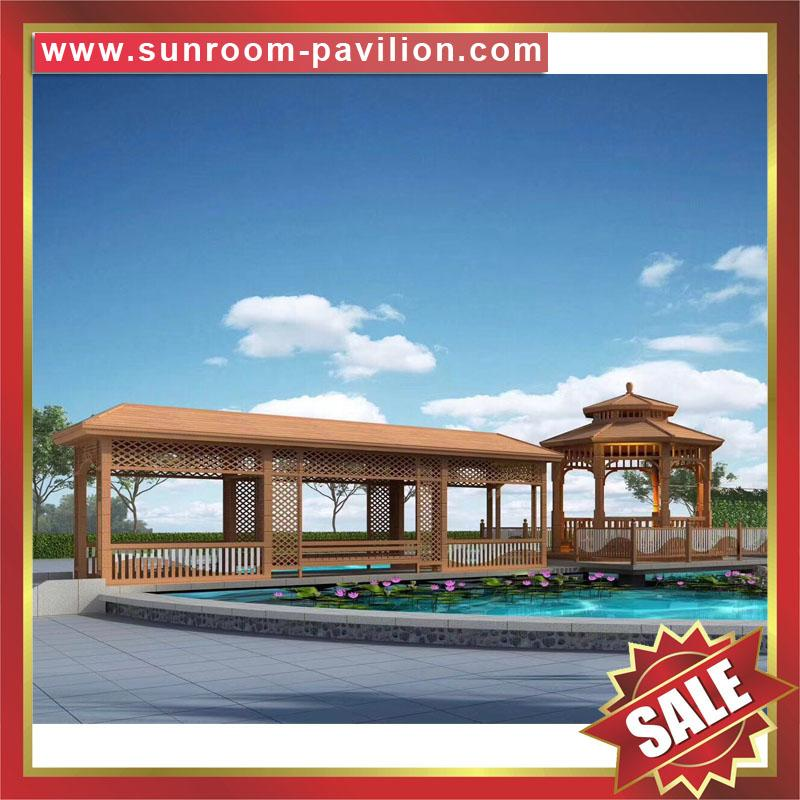 outdoor garden wood look aluminum metal gazebo pavilion pagoda gloriette 2