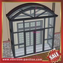 高级定制耐用别墅透明玻璃门窗金属铝合金铝制露台阳光房子遮阳屋