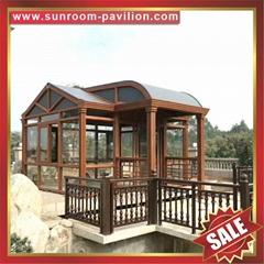 花园别墅中式复古仿实木纹铝合金铝制框架玻璃采光温室屋阳光房